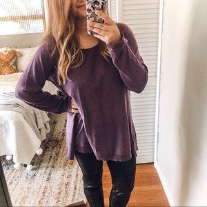 Eileen Fisher Purple Wool Long Sleeve Top